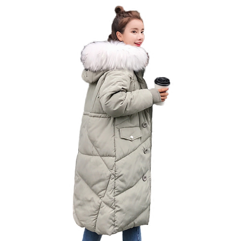 Winter Jacket New Women Solid color Cotton Outerwear Mid-long section Fashion Slim Coat Hooded Fur collar Cotton Jacket 1020-128 winter cotton outerwear female slim long section coat women cotton leisure hooded fur collar large size women coat okxgnz qq943
