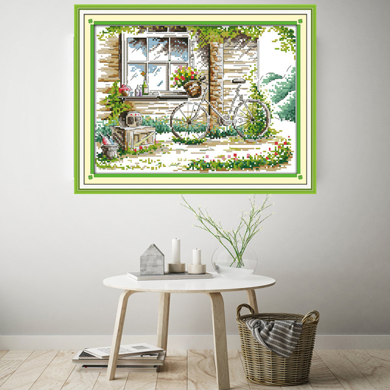 The quiet out of the window landscape painting home decor counts print on canvas Cross Stitch Kit DMC embroidery needlework Sale in Package from Home Garden