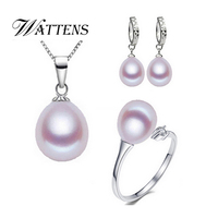 WATTENS Freshwater Pearl Earrings Pendants necklace Rings for women 925 sterling silver Natural Pearl Sets Party Jewelry Sets