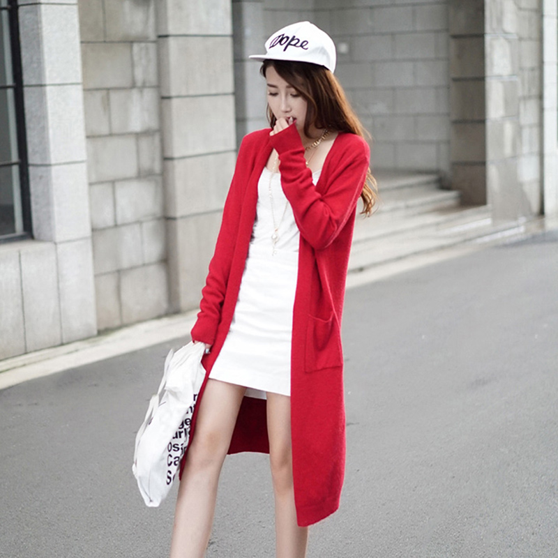 2018 summer ulzzang girl casual long knitted cardigan korean women loose solid pocket design women cardigan