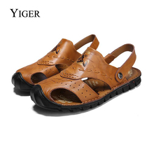 YIGER New Men Sandals Genuine Leather Slippers Beach shoes Chinese style Casual Ethnic free shipping 0069