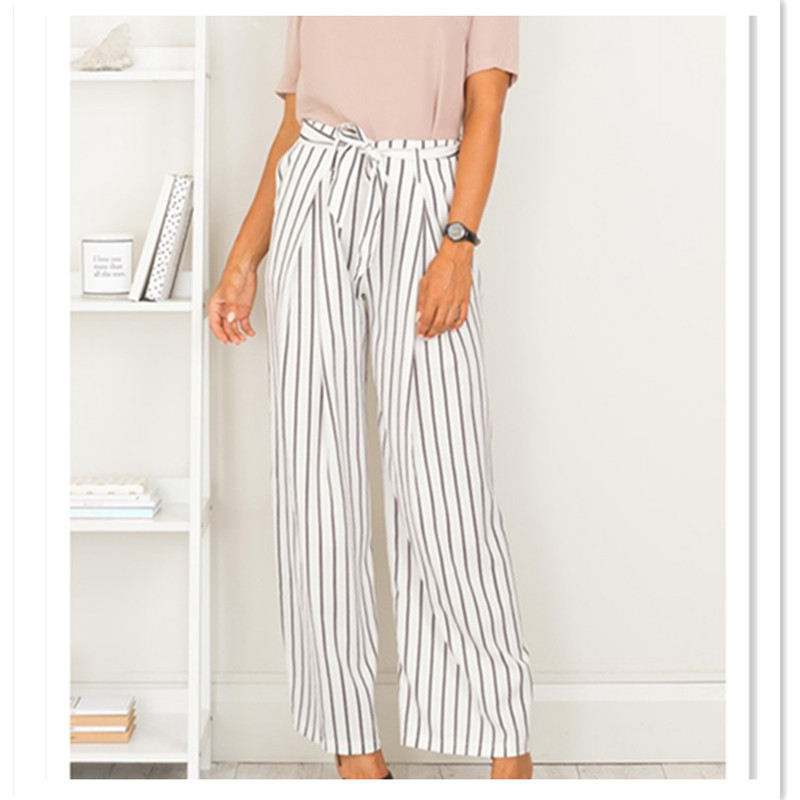 New Arrival White Striped High Waist Wide Leg Pants Women Fashion Summer Loose Casual Formal Office Lady Trousers Drawstring