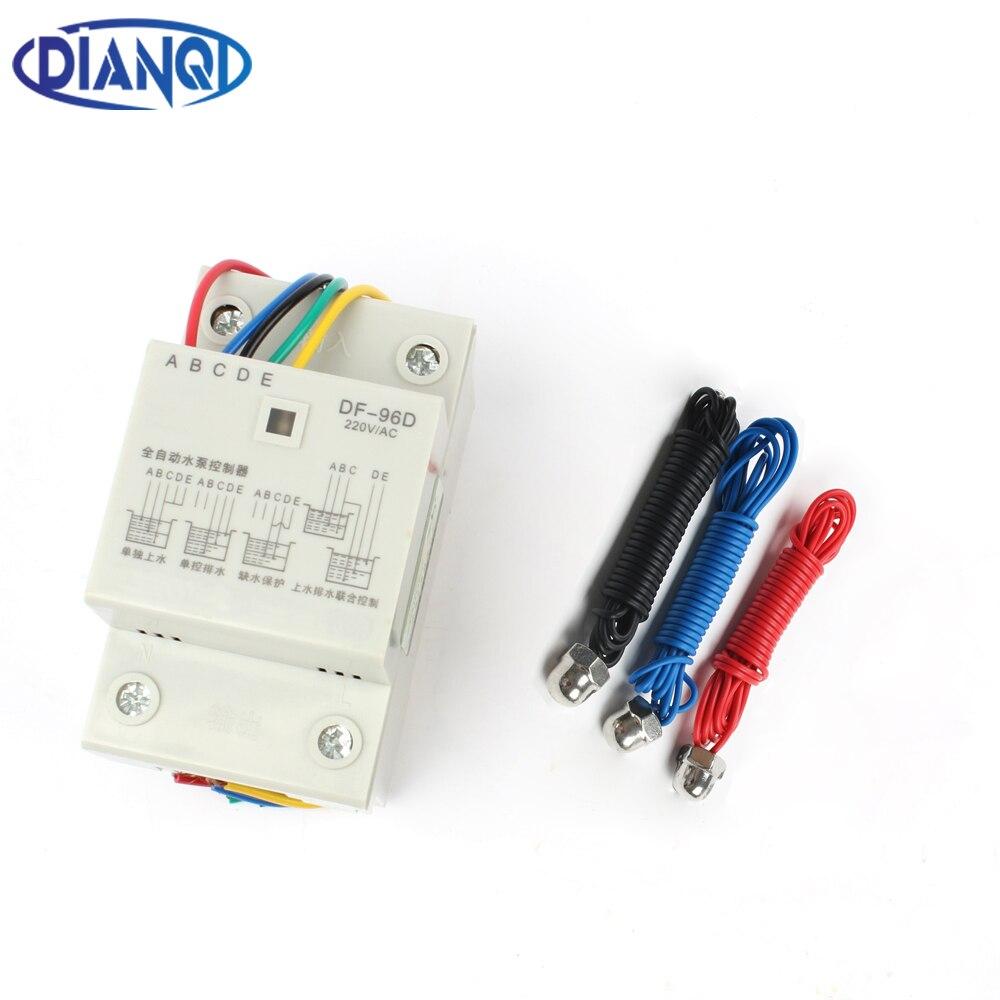 DF-96D DF96D automatische wasserstand controller Pumpe Controller Zisterne Automatische Flüssigkeit Schalter 220 v Din-schiene wasser level control