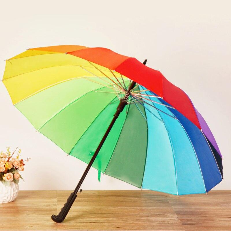 100PCS Fashion Rainbow Umbrella Water Proof Sun Rain 16K Golf Umbrella Women Automatic Long-handle Straight Parasol ZA3619