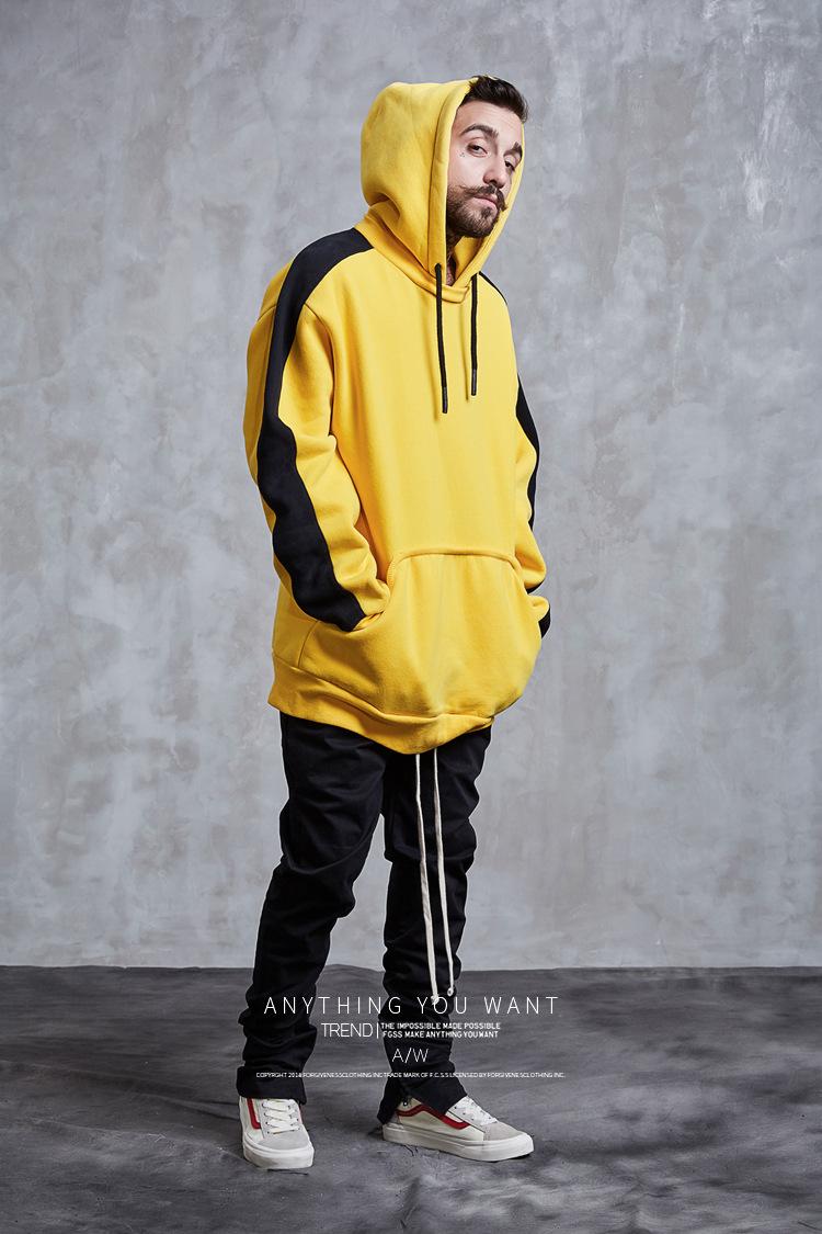 Aolamegs Hoodies Men Side Striped Hood High Street Pullover Cotton Fashion Hip Hop Streetwear Casual Big Pocket Hoodie Autumn (13)