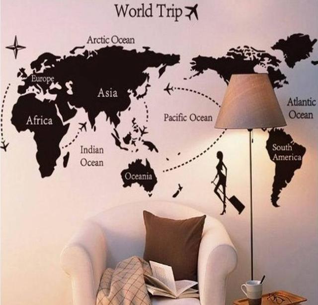 Vinyl Kunst Abziehbilder Weltreise Wandaufkleber Large Size Wand Kunst  Wohnzimmer Aufkleber Reise Karte Wandbild
