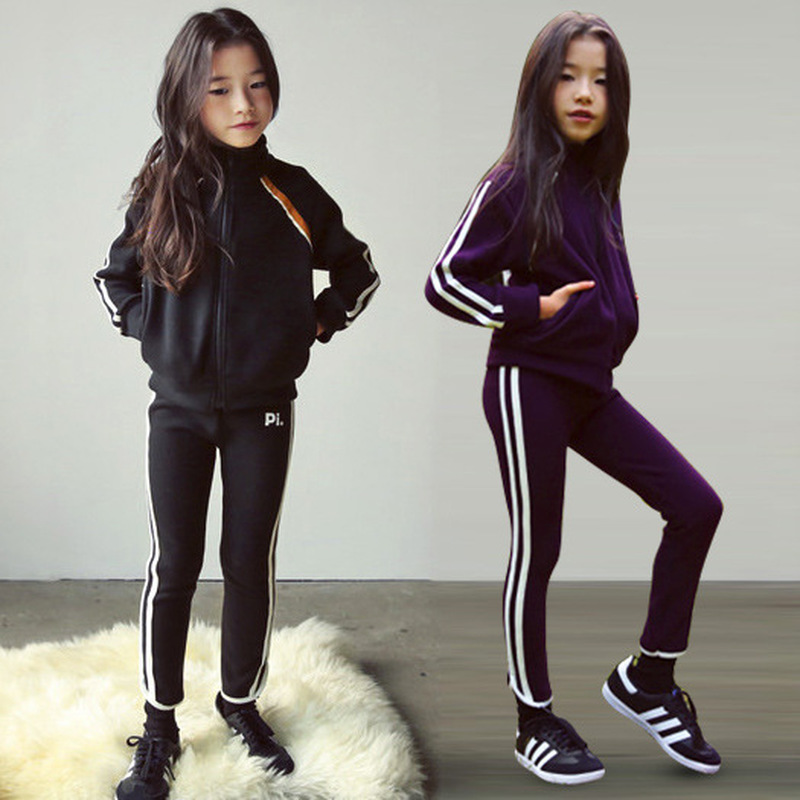 Teen Clothing Sets Spring Autumn New Suit Big Kids Long sleeved Sport Suit Children Coat+Pants 2pcs Girls Clothing Set 4 14CA749
