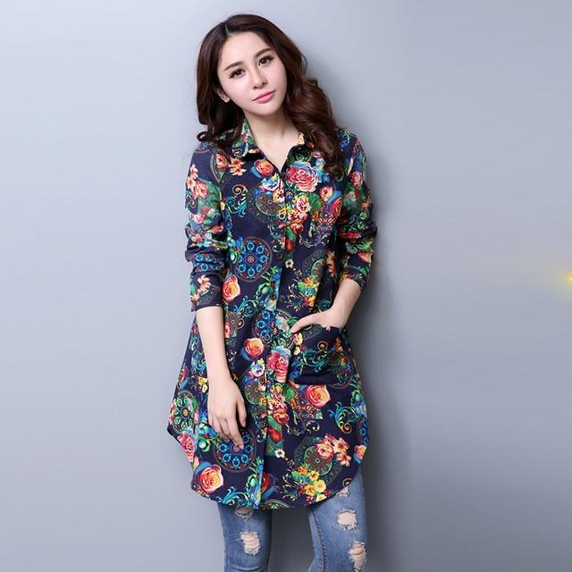 279d010ff1b6b 2018 Spring and autumn Fashion Style Cotton Women Blouses Top Medium Long  Shirts Fancy Pattern Long Sleeve Blouse Plus Size