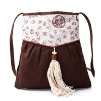 Natural Linen Chinese Romantic Restore Ancient Ways Inclined Female Small Cloth Art Mobile Phone Messenger Crossbody Tassel Bags