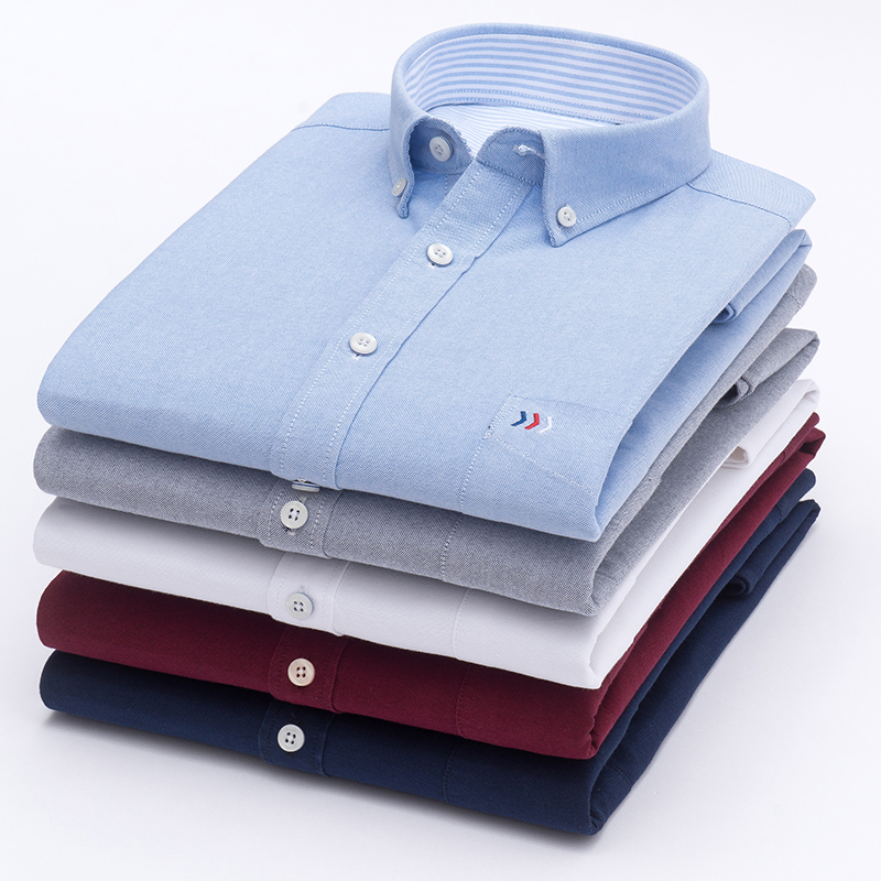 Mens Oxford Solid Pure color 100% Cotton Business Casual Shirt Men Top Sell High Quality Classic Design Mens Dress ShirtsDress Shirts   -