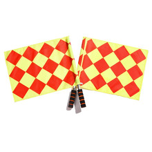 Soccer Referee Flags The Competition Fair Play Red Yellow Checkered Offside Football Linesman Hand Flags Soccer Sport Game Flags box for football match referee red and yellow cards