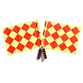 Soccer Referee Flags The Competition Fair Play Red Yellow Checkered Offside Football Linesman Hand Flags Soccer Sport Game Flags the soccer book