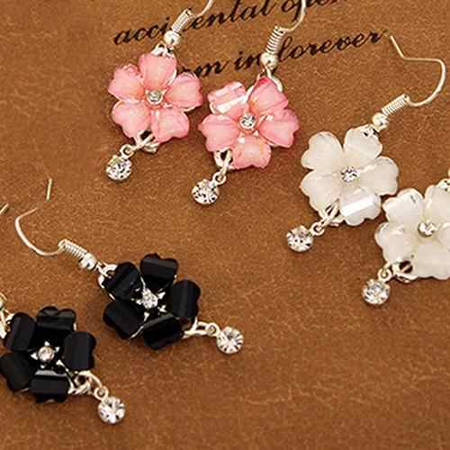 Women Elegant Flower Petals Rhinestone Dangle Drop Hook Cute Earrings Jewelry Bridal Dangle Earrings Statement Wedding Jewelry