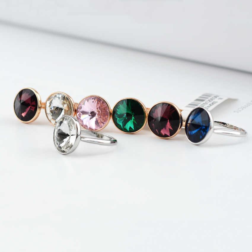 BAFFIN kryształy swarovskiego pierścionka proste modne koło biżuteria na palce na ślub zaręczyny kolor srebrny Joyas dla kobiet prezent