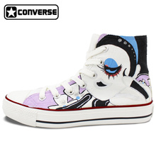 Girls Boys Converse All Star High Top Sneakers Cartoon Doll Original Design Hand Painted Canvas Sneakers Birthday Gifts