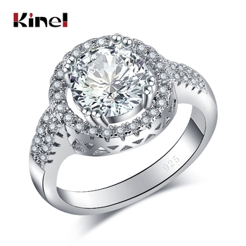 Kinel Luxury 1ct Zircon Wedding Rings For Women Fashion Silver Color Crystal Simple Round Ring Engagement Jewelry Wholesale image