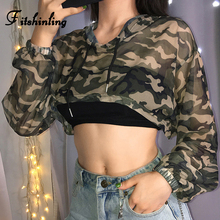 Fitshinling Harajuku Camouflage Crop Top Female T-Shirt Mesh Sheer Sexy Hooded T-shirts For Women 2019 Autumn New Tee Shirt Sale