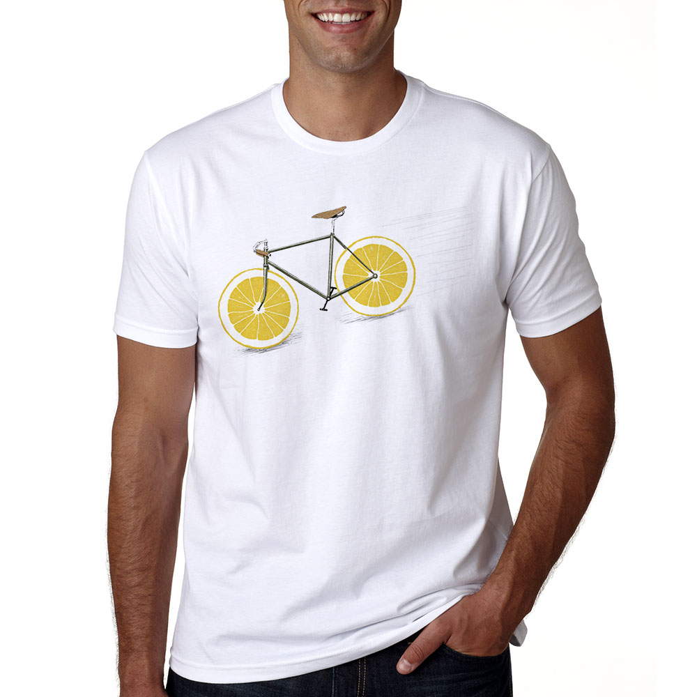 Lemon Bikes Men   T     Shirt   Short Sleeve White Printing Funny   T  -  shirt   Summer O-neck Casual Lemon Bikes Tshirt Male Cool Tops