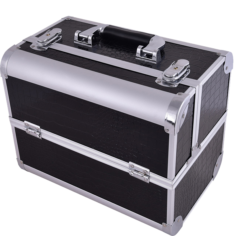 2018 Hot professional Aluminium PU Make up Box Makeup Case Beauty Case Cosmetic Bag Multi Tiers Lockable Jewelry Box for gift hot sale professional aluminium alloy make up box makeup case beauty case cosmetic bag multi tiers lockable jewelry box
