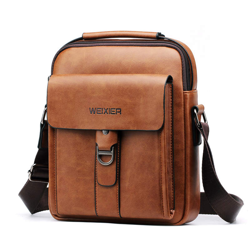 WEIXIER 2019 New Men's Shoulder Bag Soft PU Leather Material High Quality Fashion Casual Wind Zipper Office Messenger Bag