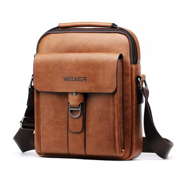 WEIXIER new mens shoulder bag soft PU leather material high quality fashion casual wind zipper office Messenger
