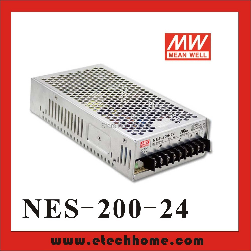 High Reliability Mean Well Switching Power Supply 200W 24V 8.8A Single Output NES-200-24 For stepper Motor high reliability and high accuracy 15v 1a power supply used in labs educational laboratories