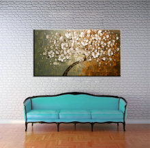 Large abstract modern canvas wall art hand painted Knife paint  tree oil painting blossom on canvas for living room decoration