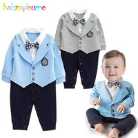 Babzapleume 3 24Months Spring Autumn Newborn Baby Clothes Gentleman Bow Long Sleeve Jumpsuit Infant Boys Rompers
