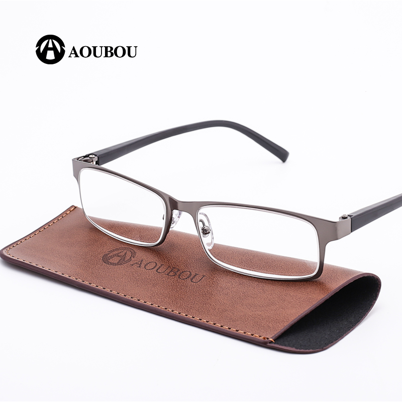 AOUBOU Marke High-end Business Lesebrille Männer Edelstahl PD62 Gläser Ochki 1,75 + 3,25 Grad Gafas De Lectura AB002