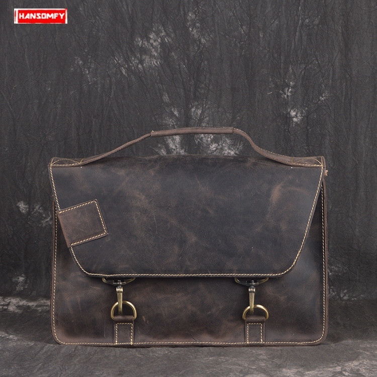 New Genuine Leather Men Briefcase Cowhide Postman Bag Crazy Horse Leather Laptop Shoulder Diagonal Bag Male Retro Messenger Bags