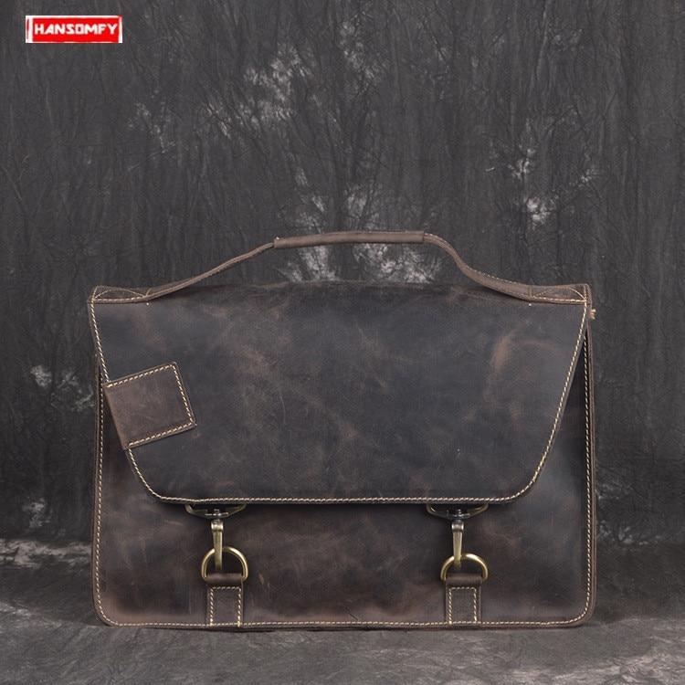 New Genuine Leather Men Briefcase Cowhide Postman Bag Crazy Horse Leather Laptop Shoulder Diagonal Bag Male Retro Messenger Bags