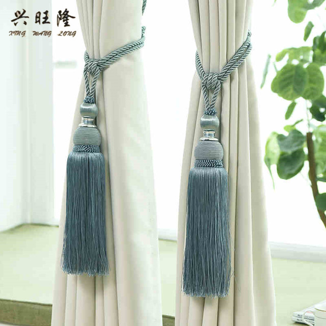 XWL 2Pcs/Pair Curtain Tassel Brush Fringe Tiebacks Hanging Belt Ball Ropes Hook Hanger Curtain Accessories Tie Back Strap Buckle