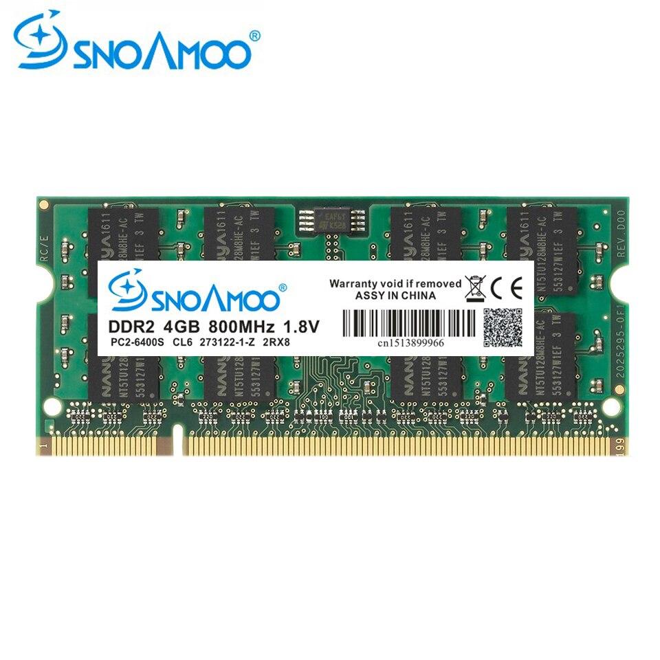 RAMs d'ordinateur portable SNOAMOO DDR2 4 GB 667 MHz PC2-5300S 800 MHz PC2-6400S 200Pin DDR2 1 GB 2 GB 4 GB DIMM mémoire pour ordinateur portable garantie à vie