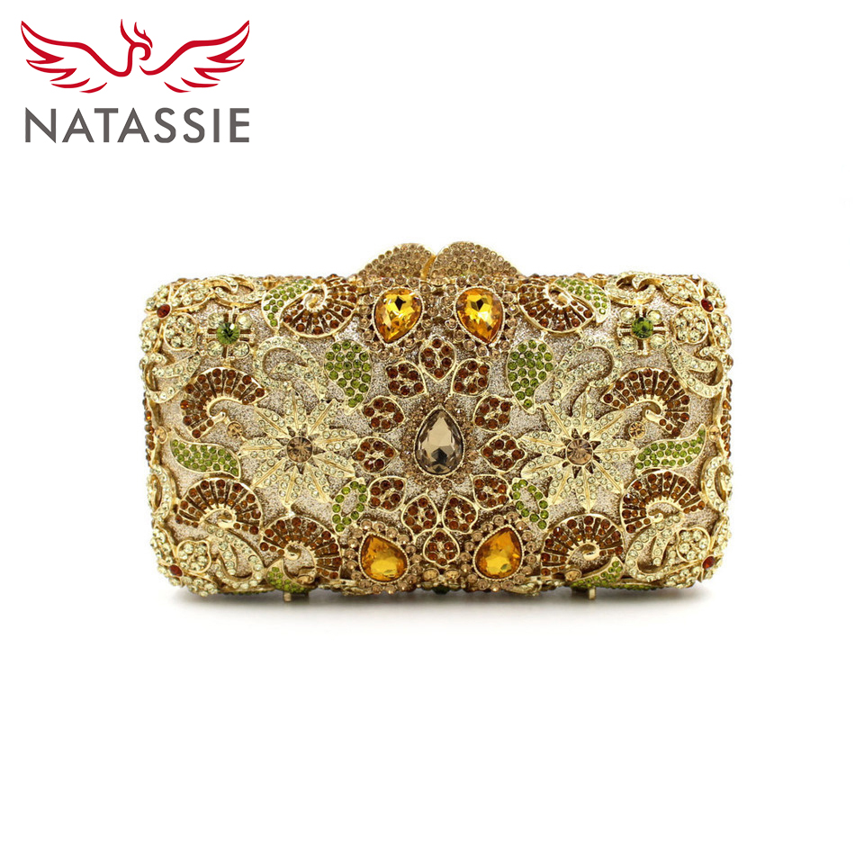 ФОТО NATASSIE Women Evening Day Casual Cluth Bags Socialite Wedding Floral Handbags Lady High Quality Party Purse With Chain