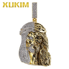Xukim Jewelry Silver Color Gold AAA Cubic Zirconia Religious Ghost Jesus Head Pendant Necklace Hip Hop