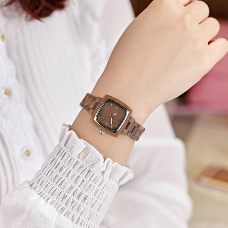 Retro Wood Women Watch Unique Square Circle Dial Design Full Wooden Bracelet Woman Ladies Clock Quartz Wristwatch dames horloges 2019 2020 2022 (8)