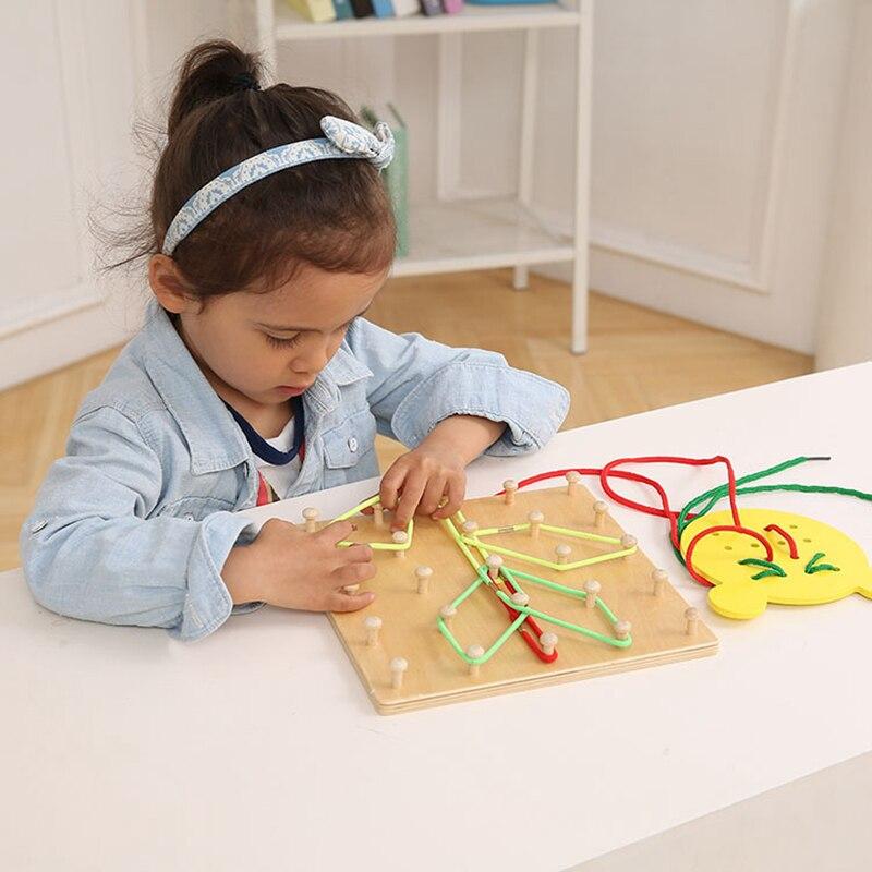 Montessori Materials Sensorial Rubber Tie Puzzle Board Educational Toys For Children Preschool Learning Montessori Toy Ud2164h Home