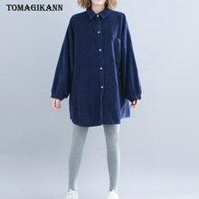 Blue Corduroy Plus Size Blouse Women Tops Autumn Solid Pocket Turn Down Collar Lantern Sleeve Shirt Chemisier femme Tops turndown collar pocket corduroy shirt
