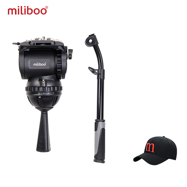 Miliboo m8 cabeças fluidas video do filme da transmissão profissional carregam o suporte resistente da câmera do tripé 15 kg com bacia de 100mm