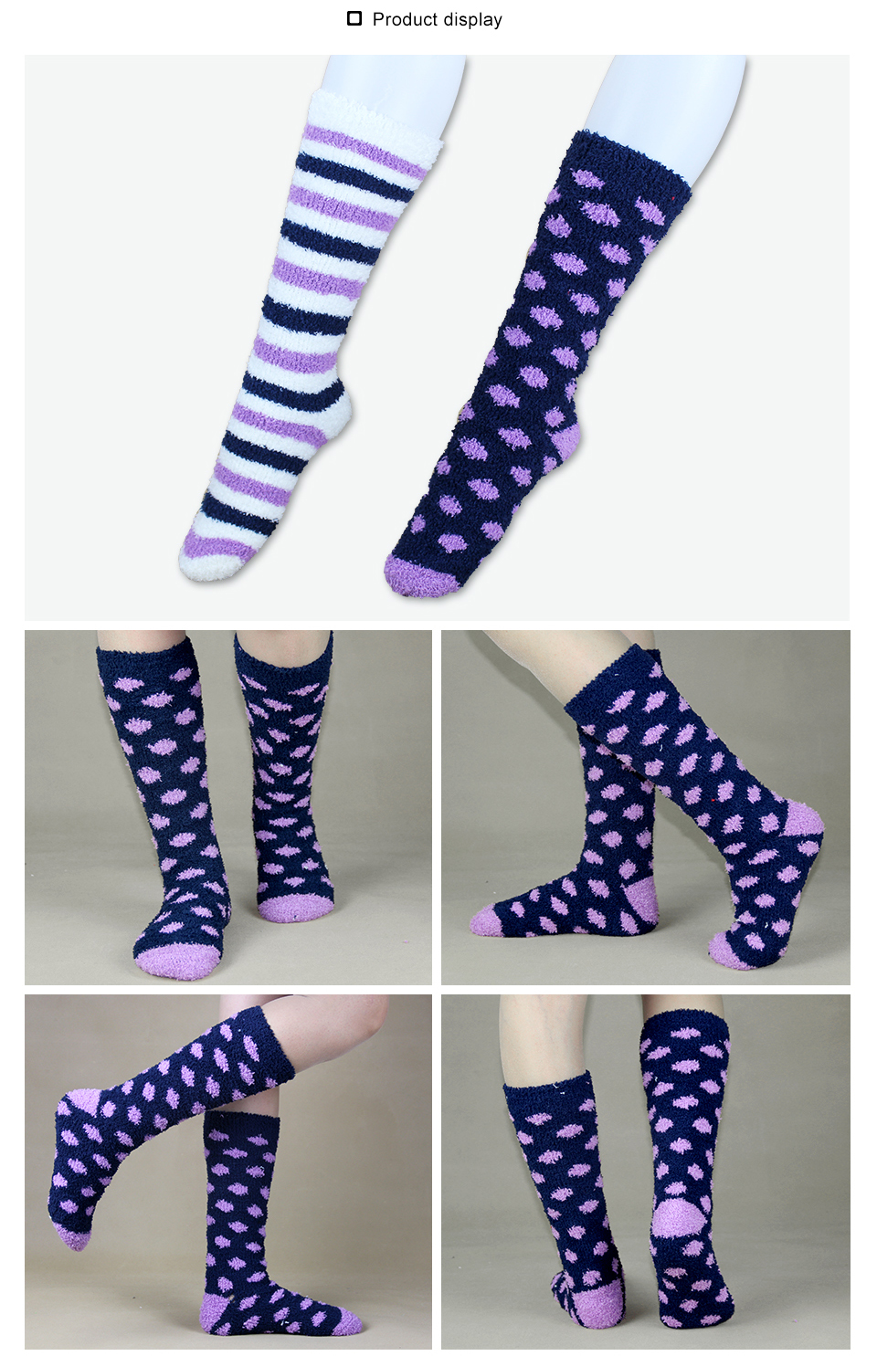 High Indoor Women Socks Soft Warm Spring Winter Brand Thick Striped Compression Hosiery Long Ladies Cosy Home Slipper Socks 2PK 6