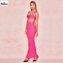 Boussac women Dress Top Quality Pink Apricot Short Bra Long Skirt Knited Bandage dress + suit Wholesale dropshipping