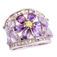 lingmei Wholesale Cluster Amethyst Tourmaline White Topaz 925 Silver Ring Size 7 8 9 10 Noble Party's Jewelry Free Shipping