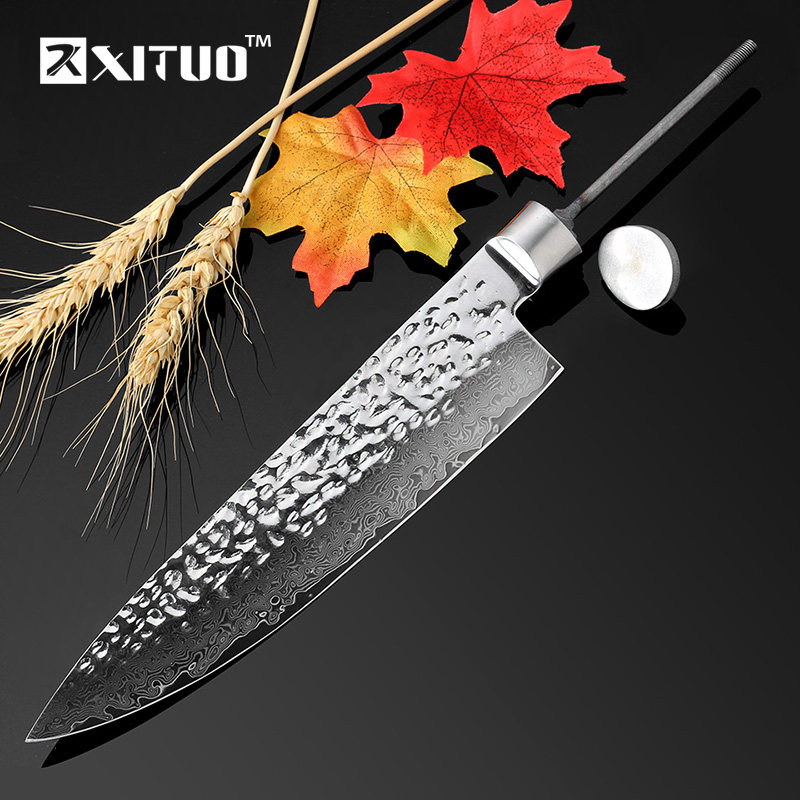 """XITUO NEW 8"""" Inch Damascus Kitchen Knife Blanks DIY 67 Layer Japan VG10 Damascus Steel Chef Knife Forged Handmade Material tools