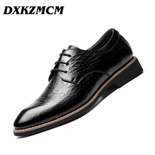 DXKZMCM Lace Up Men Genuine Leather Men Wedding Brogue Formal Dress Shoes Party Office Brown Oxford