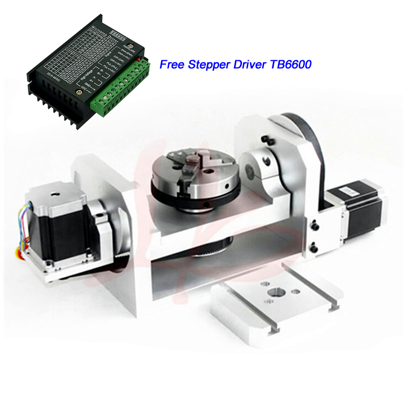 Center Height 98mm 5th Axis Rotation Axis 100mm 3 Jaw Chuck with Table Stepper Motor Driver TB6600 for CNC RouterCenter Height 98mm 5th Axis Rotation Axis 100mm 3 Jaw Chuck with Table Stepper Motor Driver TB6600 for CNC Router