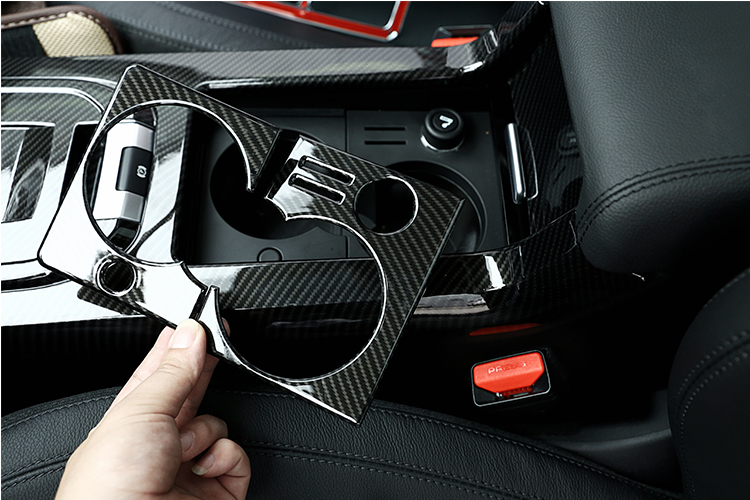 For Land Rover Discovery Sport 2015-2017 Carbon Fiber Style Car Interior Cup Holder Frame Cover Trim Accessory for LHD yaquicka carbon fiber style 4x car interior door side panel cover strips trim for land rover discovery 5 2017 car styling covers
