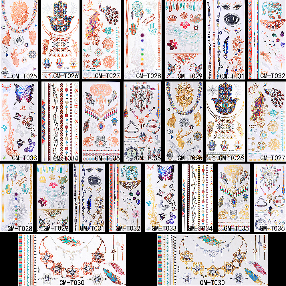 12 Design 1pc Gold Temporary Flash Metal Tattoo 1