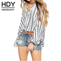 HDY Haoduoyi 2017 New Fashion Women Lantren Sleeve  Sexy V Neck  Brief Floral Print Striped Vintage Elegant Chiffon Blouse