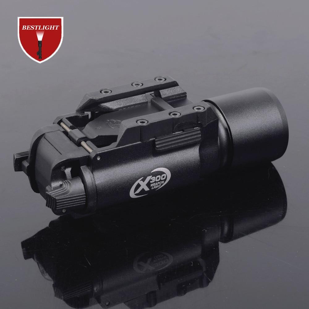 Тактический X300 светодиодный светильник для оружия, пистолет, Lanterna, страйкбол, фонарик с Рельсом Пикатинни для охоты