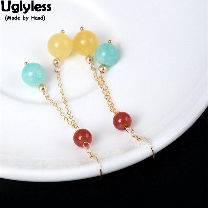 Uglyless antioxydant 14 K or boucles d'oreilles pour femmes coloré pierres précieuses ballons boucles d'oreilles ambre robe d'été belles boules Brincos